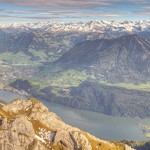 long mountain panorama of Lake Lucerne, Switzerland