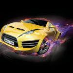 Sports car burnout