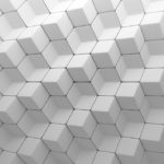 White abstract cubes backdrop. 3d rendering geometric polygons, as tile wall. Interior room