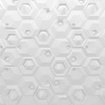 White abstract hexagons backdrop. 3d rendering geometric polygons, as tile wall. Interior room