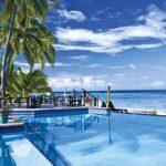 Infinite swimming pool in a tropical beach resort