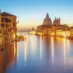 The beautiful night view of the famous Grand Canal in Venice, Italy