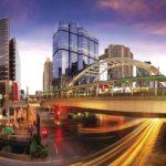 traffic city night at bangkok thailand, night scene of modern city